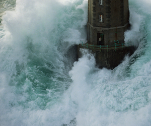 ocean, lighthouse, and sea image