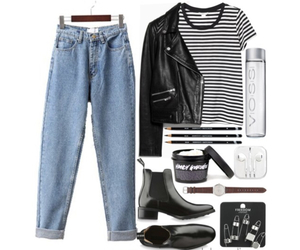 apple, boots, and boyfriend jeans image