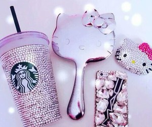 hello kitty, starbucks, and pink image