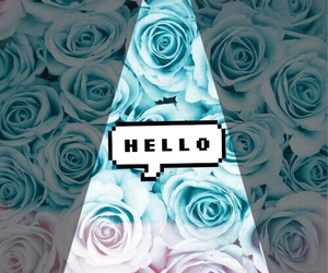 blue, flowers, and hello image