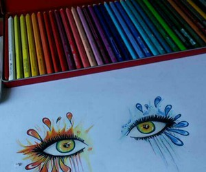 drawing, eyes, and selfmade image