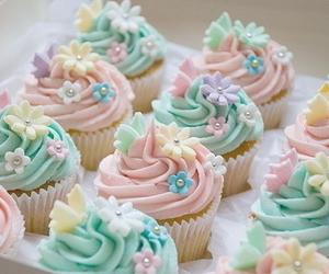 cupcake, food, and flowers image
