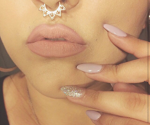 nails, nose ring, and piercing image