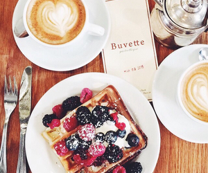 coffee, fruit, and waffles image