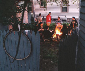 friends, fire, and hipster image