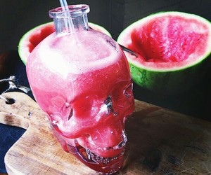 watermelon, drink, and skull image