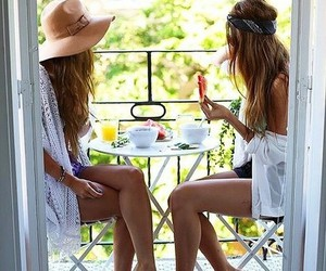 best friends, breakfast, and fashion image
