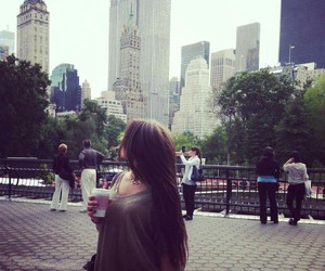 big city, brunette, and coffee image
