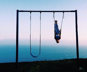 swing, sky, and sea image