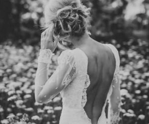 black and white, fashion, and lace dress image