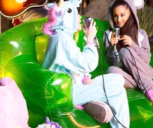 ariana grande, miley cyrus, and ariana image