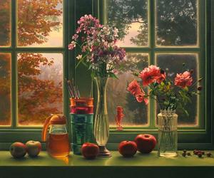autumn, window, and shabby cottage image