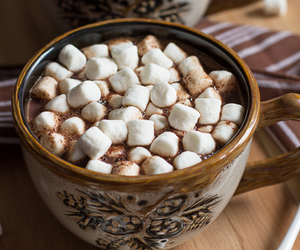 marshmallow, hot ​chocolate, and sweet image