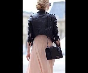 chanel bag, hair bun, and black leather jacket image