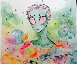 alien, drawn, and love image