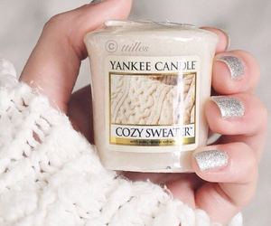 candle, sweater, and cozy image