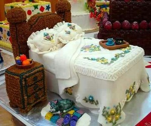 cake, bed, and food image
