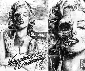 marilyn, monroe, and skull image
