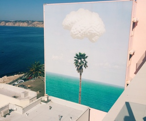 clouds, palms, and sea image
