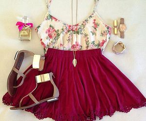 fashion, outfit, and red image