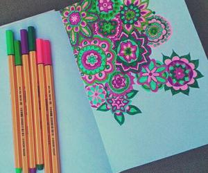 draw, flowers, and colors image