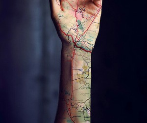 map, tattoo, and hand image
