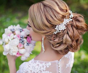 wedding, flowers, and hairstyle image