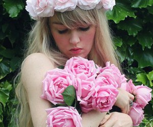 blond, girl, and pink image
