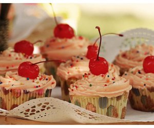 cherry, cupcakes, and food image