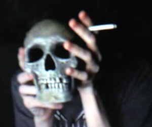 grunge, skull, and cigarette image
