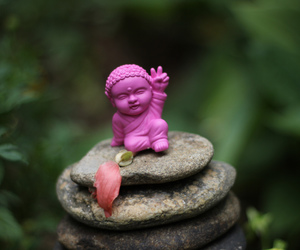 Buddha, pink, and tiny image