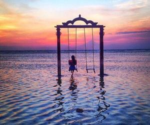 beautiful, sunset, and ocean image