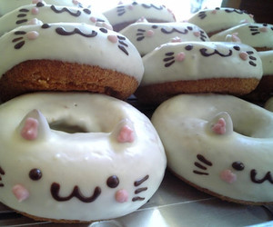 donuts, cat, and food image