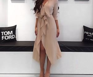 brunette, dress, and girl image