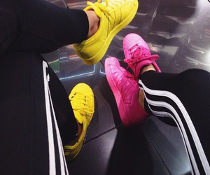 adidas, pink, and yellow image