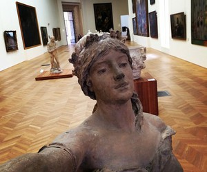 statue, selfie, and art image