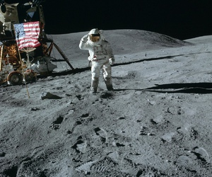 astronaut, moon, and outer space image