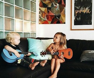 cute, guitar, and family image