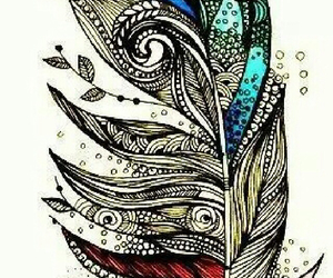 feather, drawing, and art image