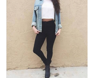 black, denim, and outfit image