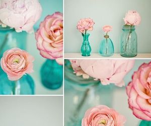aqua, glass, and roses image