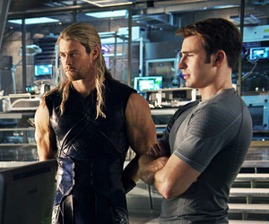 chris evans, thor, and chris hemsworth image