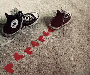 converse, heart, and shoes image