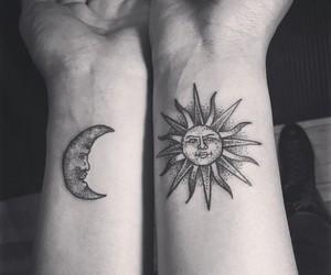 art, tatoo, and sun image