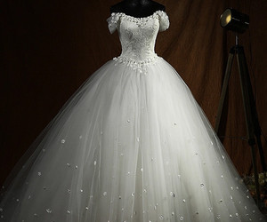 ball gown, flowers, and bridal image