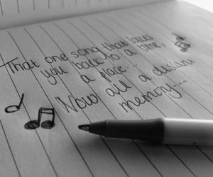 black and white, journal, and music notes image