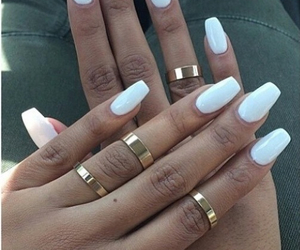 long nails, rings, and white image