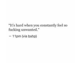 quote, unwanted, and sad image