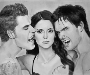 the vampire diaries, Nina Dobrev, and ian somerhalder image