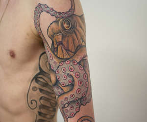 boy, tattoo, and octopus image